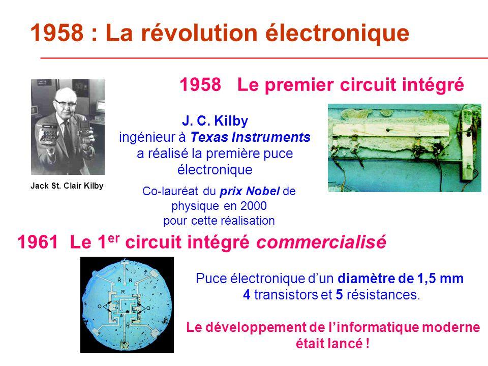 1958 : La révolution électronique 1958 Le premier circuit intégré J.