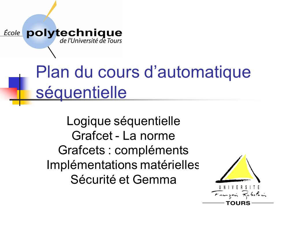 172 Le GRAFCET (fin) I) Cahier des charges II) Approche intuitive III) Approche fonctionnelle IV) Conclusion PLAN