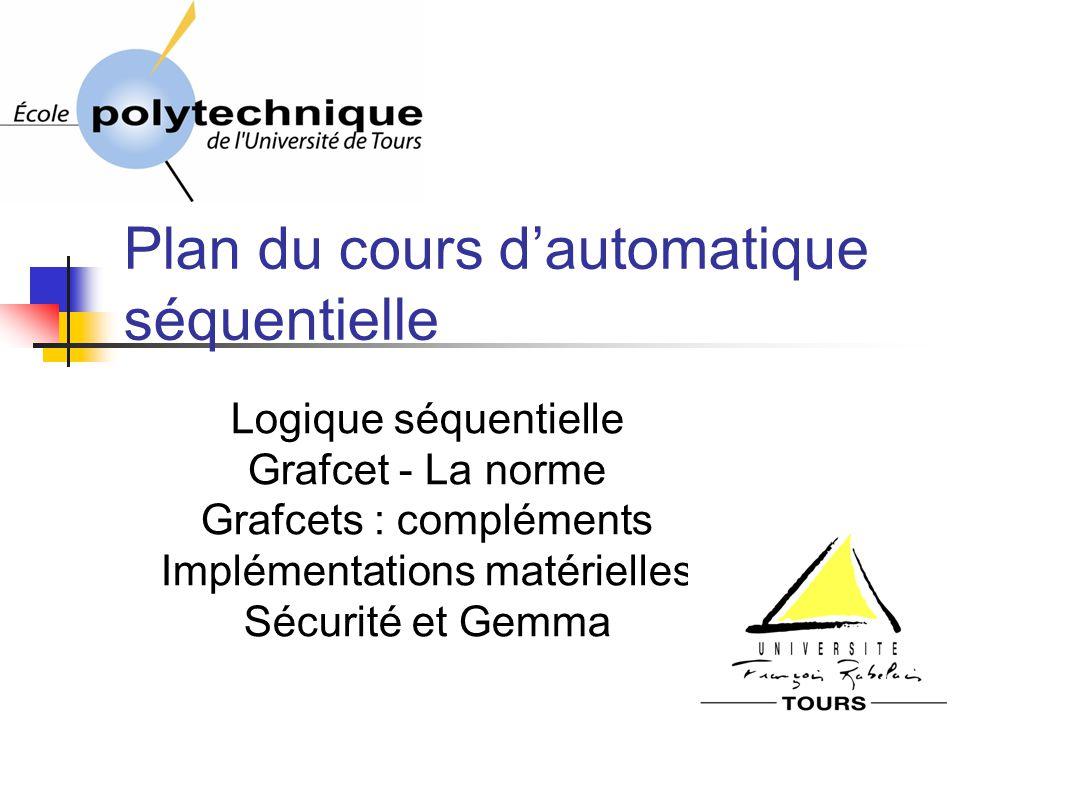 Plan du cours dautomatique séquentielle Logique séquentielle Grafcet - La norme Grafcets : compléments Implémentations matérielles Sécurité et Gemma