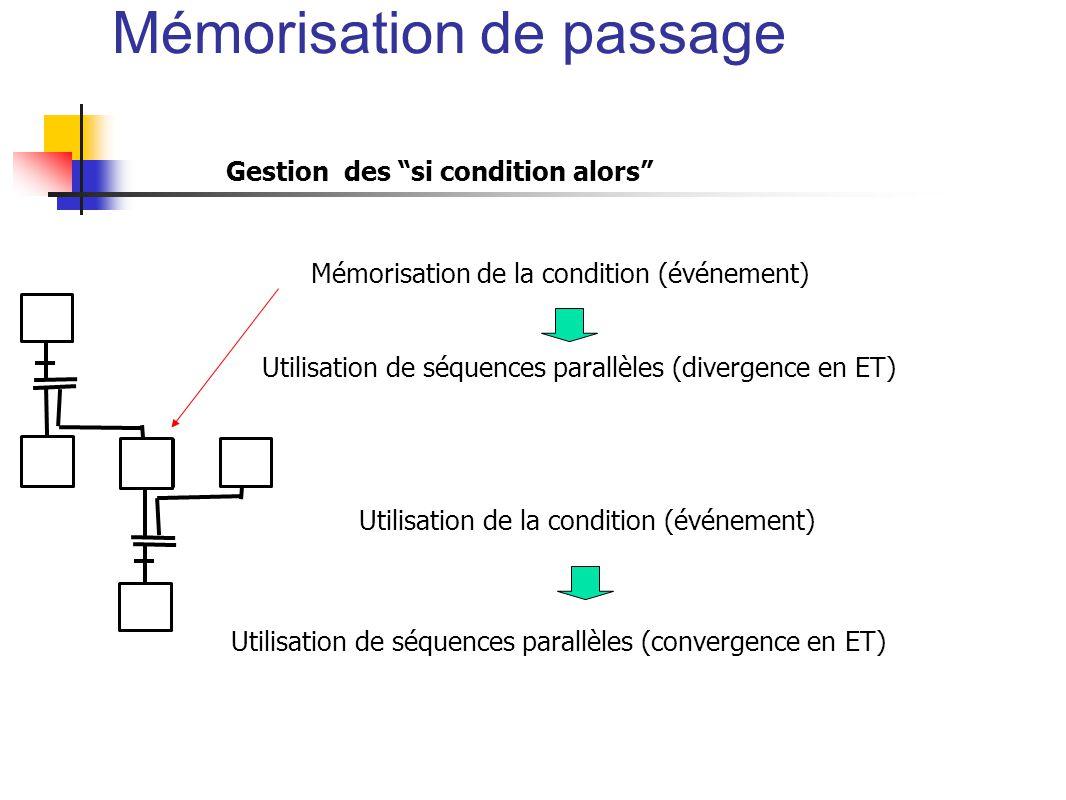 Gestion des si condition alors Utilisation de séquences parallèles (divergence en ET) Mémorisation de la condition (événement) Utilisation de séquences parallèles (convergence en ET) Utilisation de la condition (événement) Mémorisation de passage