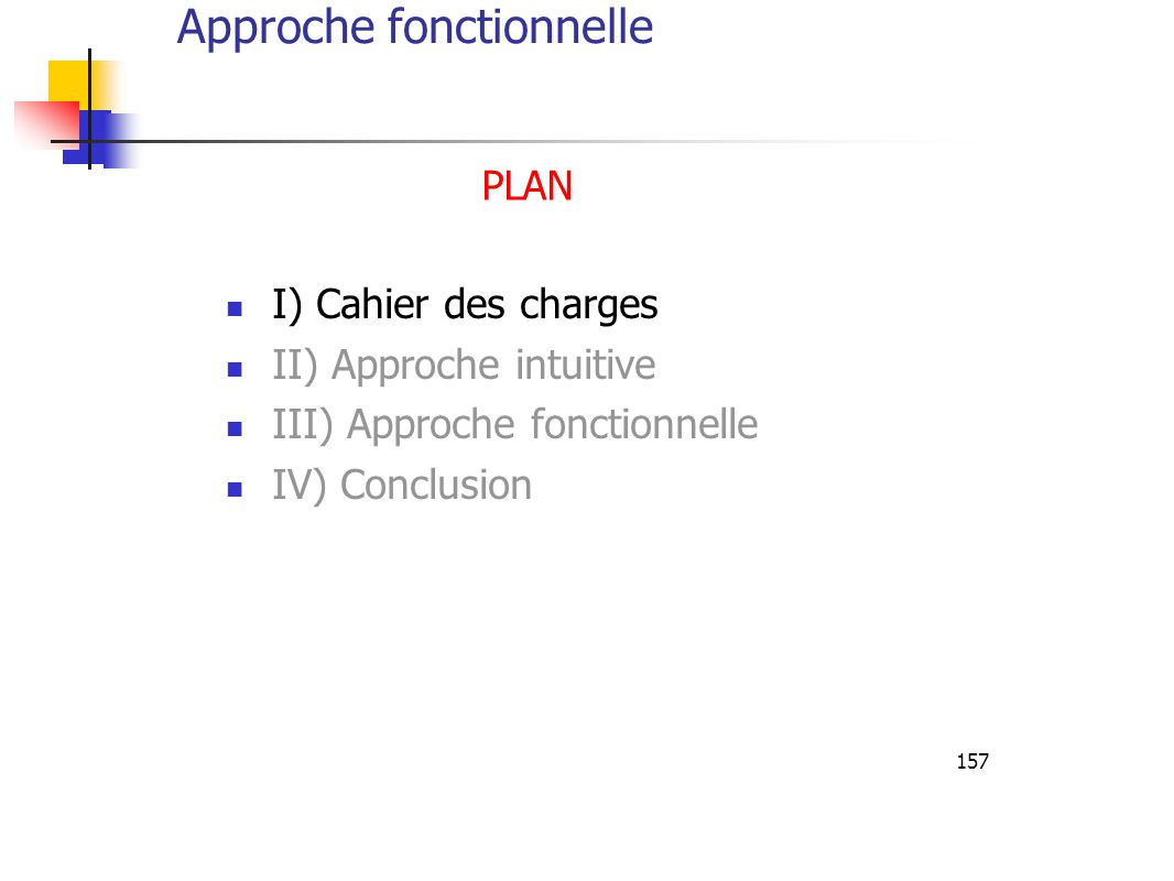 157 I) Cahier des charges II) Approche intuitive III) Approche fonctionnelle IV) Conclusion PLAN Approche fonctionnelle
