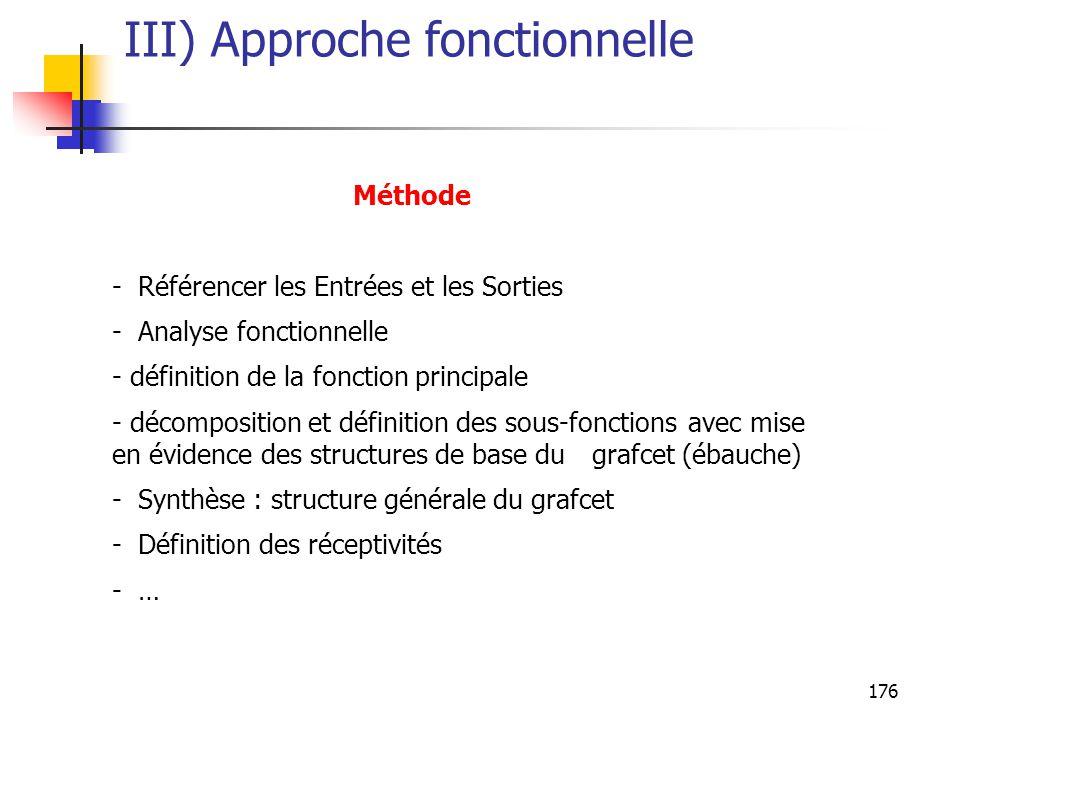176 III) Approche fonctionnelle Méthode - Référencer les Entrées et les Sorties - Analyse fonctionnelle - définition de la fonction principale - décomposition et définition des sous-fonctions avec mise en évidence des structures de base du grafcet (ébauche) - Synthèse : structure générale du grafcet - Définition des réceptivités - …