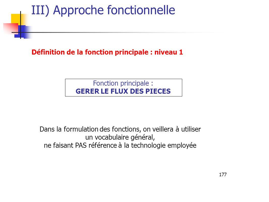 177 III) Approche fonctionnelle Définition de la fonction principale : niveau 1 Fonction principale : GERER LE FLUX DES PIECES Dans la formulation des fonctions, on veillera à utiliser un vocabulaire général, ne faisant PAS référence à la technologie employée