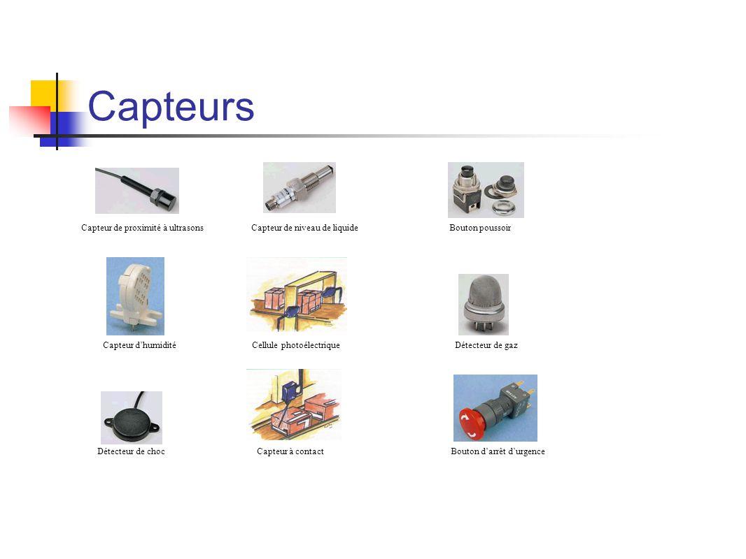 Capteurs Capteur de proximité à ultrasons Capteur dhumiditéDétecteur de gaz Capteur de niveau de liquide Cellule photoélectrique Détecteur de chocCapteur à contact Bouton poussoir Bouton darrêt durgence