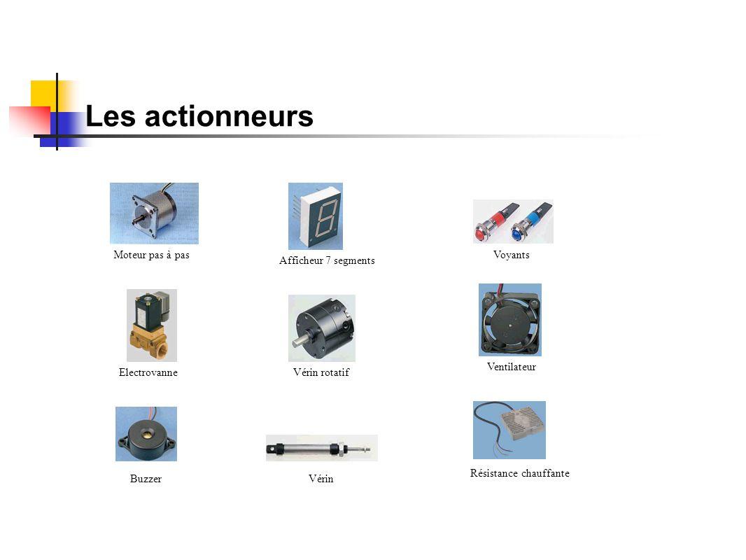 Les actionneurs Moteur pas à pasVoyants Electrovanne Buzzer Afficheur 7 segments Vérin Vérin rotatif Ventilateur Résistance chauffante