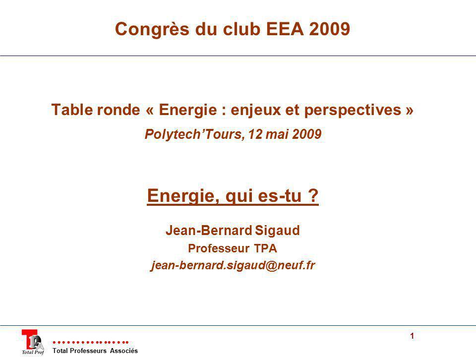 Total Professeurs Associés 1 Congrès du club EEA 2009 Table ronde « Energie : enjeux et perspectives » PolytechTours, 12 mai 2009 Energie, qui es-tu ?