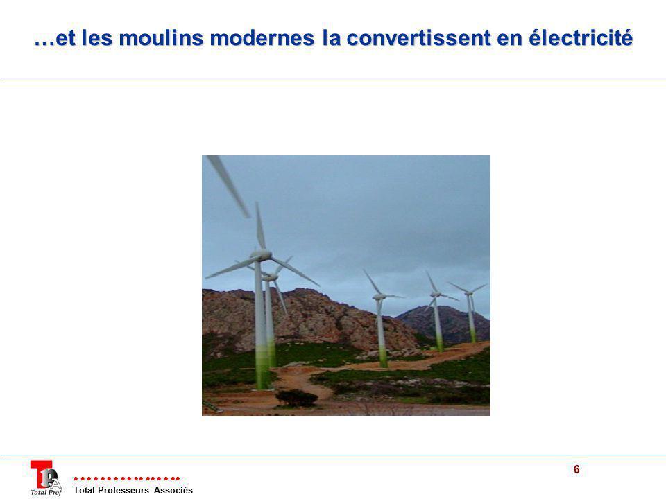 Total Professeurs Associés 6 …et les moulins modernes la convertissent en électricité