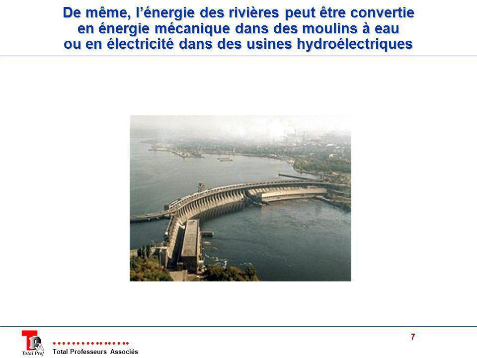 Total Professeurs Associés 7 De même, lénergie des rivières peut être convertie en énergie mécanique dans des moulins à eau ou en électricité dans des