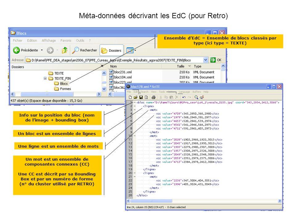 Info sur la position du bloc (nom de limage + bounding box) Un bloc est un ensemble de lignes Une ligne est un ensemble de mots Un mot est un ensemble de composantes connexes (CC) Une CC est décrit par sa Bounding Box et par un numéro de forme (n° du cluster utilisé par RETRO) Méta-données décrivant les EdC (pour Retro) Ensemble dEdC = Ensemble de blocs classés par type (ici type = TEXTE)