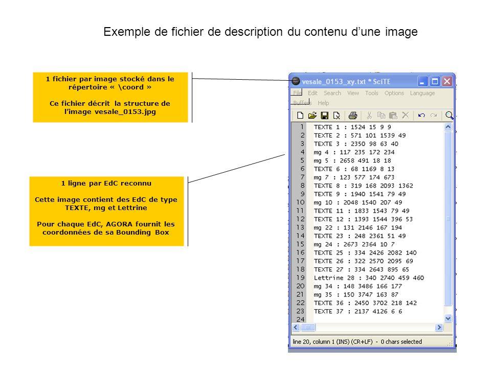 Exemple de fichier de description du contenu dune image 1 fichier par image stocké dans le répertoire « \coord » Ce fichier décrit la structure de limage vesale_0153.jpg 1 ligne par EdC reconnu Cette image contient des EdC de type TEXTE, mg et Lettrine Pour chaque EdC, AGORA fournit les coordonnées de sa Bounding Box