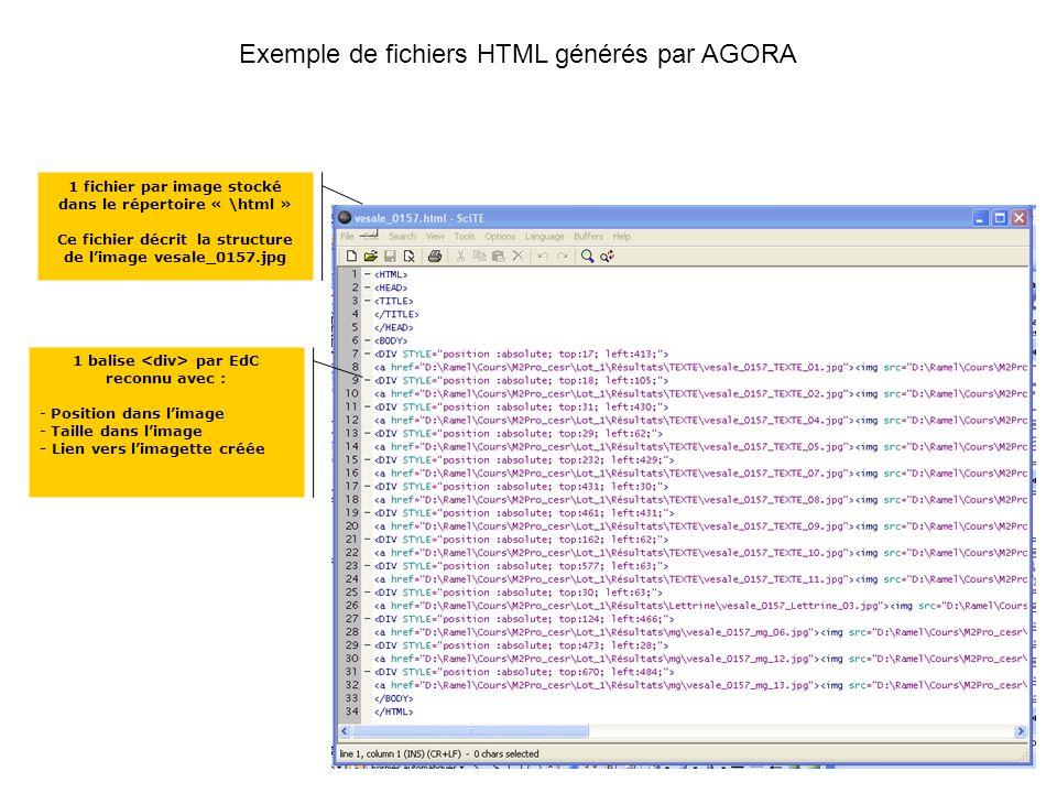 Exemple de fichiers HTML générés par AGORA 1 fichier par image stocké dans le répertoire « \html » Ce fichier décrit la structure de limage vesale_0157.jpg 1 balise par EdC reconnu avec : - Position dans limage - Taille dans limage - Lien vers limagette créée