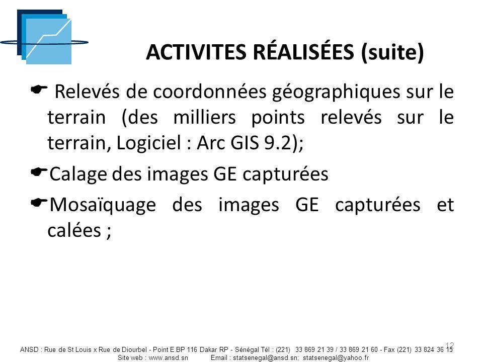 ACTIVITES RÉALISÉES (suite) Relevés de coordonnées géographiques sur le terrain (des milliers points relevés sur le terrain, Logiciel : Arc GIS 9.2);