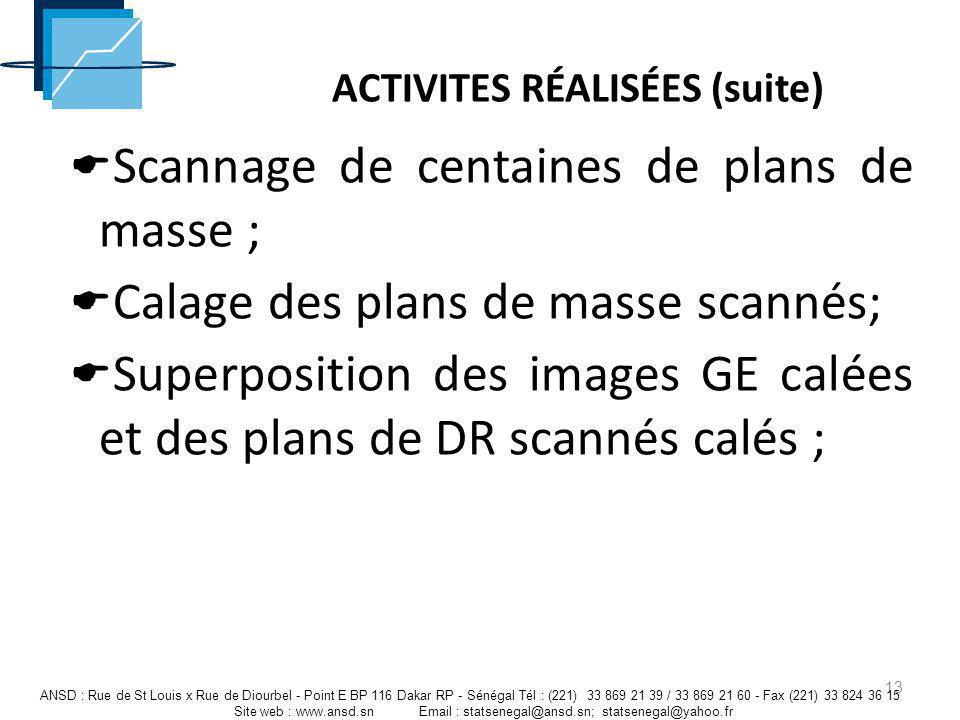 ACTIVITES RÉALISÉES (suite) 13 ANSD : Rue de St Louis x Rue de Diourbel - Point E BP 116 Dakar RP - Sénégal Tél : (221) 33 869 21 39 / 33 869 21 60 -