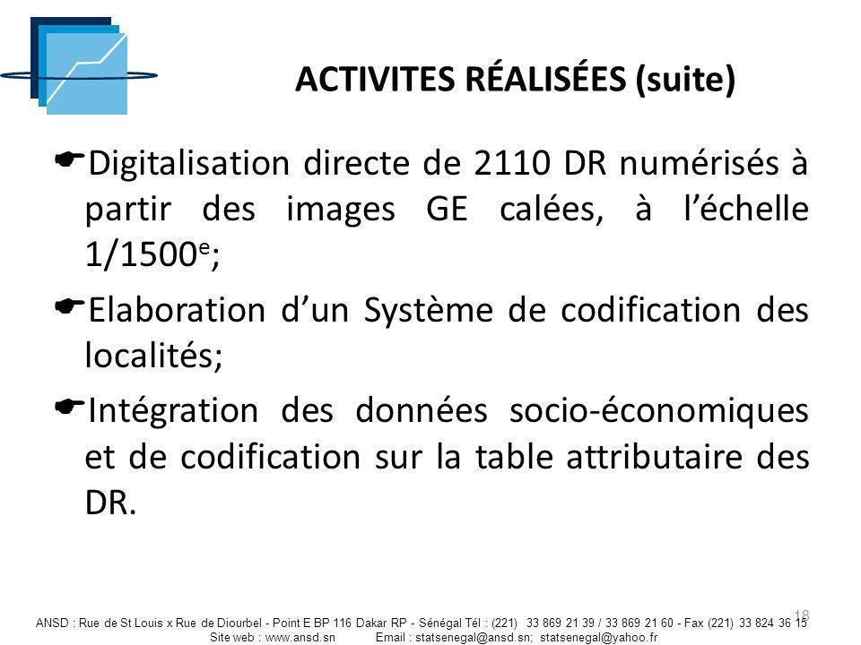 ACTIVITES RÉALISÉES (suite) Digitalisation directe de 2110 DR numérisés à partir des images GE calées, à léchelle 1/1500 e ; Elaboration dun Système d