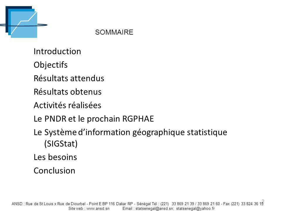 Introduction Objectifs Résultats attendus Résultats obtenus Activités réalisées Le PNDR et le prochain RGPHAE Le Système dinformation géographique sta