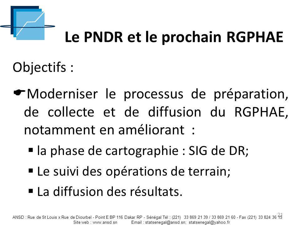 Le PNDR et le prochain RGPHAE Objectifs : Moderniser le processus de préparation, de collecte et de diffusion du RGPHAE, notamment en améliorant : la
