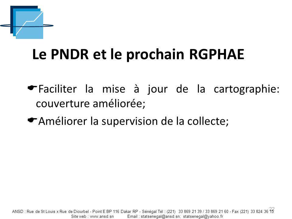 Le PNDR et le prochain RGPHAE Faciliter la mise à jour de la cartographie: couverture améliorée; Améliorer la supervision de la collecte; 22 ANSD : Ru