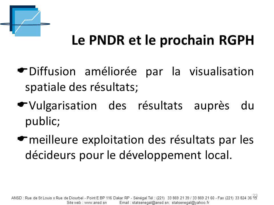 23 Le PNDR et le prochain RGPH Diffusion améliorée par la visualisation spatiale des résultats; Vulgarisation des résultats auprès du public; meilleur