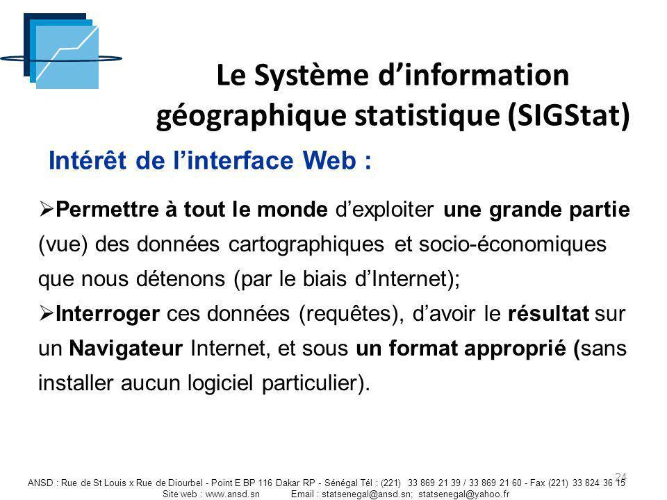 Le Système dinformation géographique statistique (SIGStat) 24 ANSD : Rue de St Louis x Rue de Diourbel - Point E BP 116 Dakar RP - Sénégal Tél : (221)