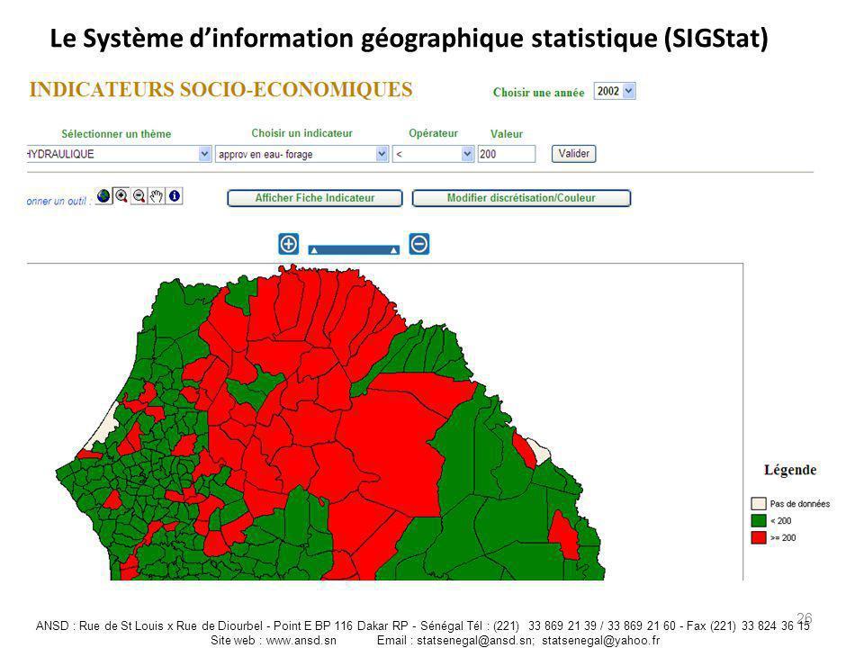 Le Système dinformation géographique statistique (SIGStat) 26 ANSD : Rue de St Louis x Rue de Diourbel - Point E BP 116 Dakar RP - Sénégal Tél : (221)