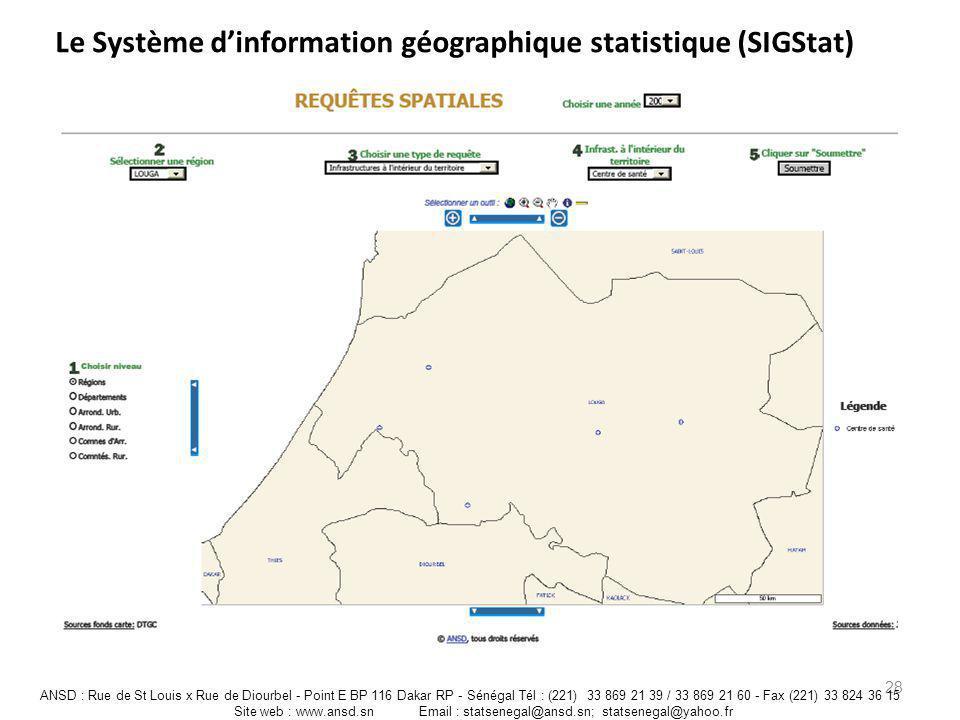Le Système dinformation géographique statistique (SIGStat) 28 ANSD : Rue de St Louis x Rue de Diourbel - Point E BP 116 Dakar RP - Sénégal Tél : (221)