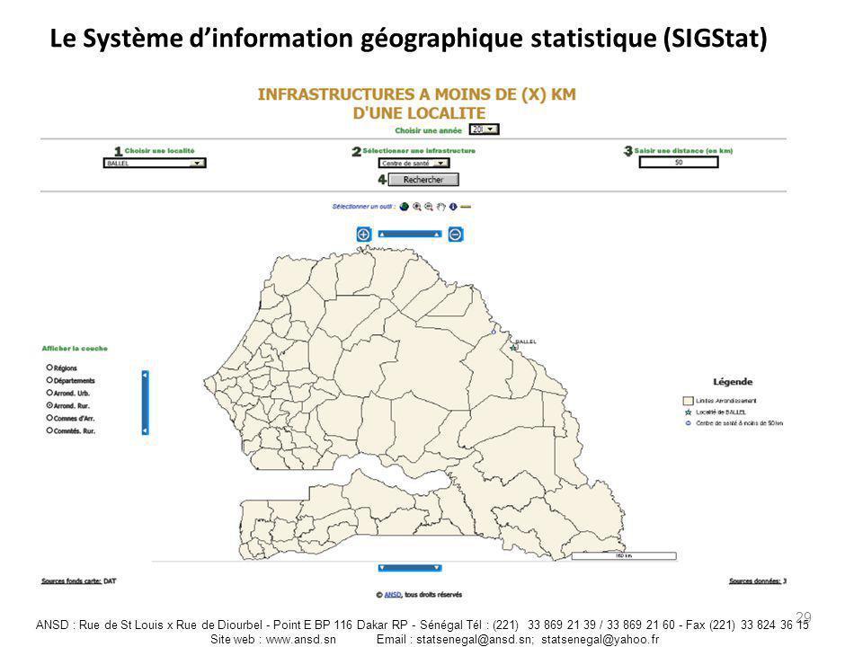 Le Système dinformation géographique statistique (SIGStat) 29 ANSD : Rue de St Louis x Rue de Diourbel - Point E BP 116 Dakar RP - Sénégal Tél : (221)