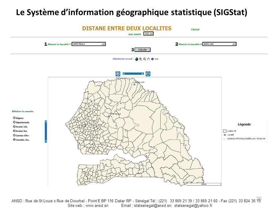 Le Système dinformation géographique statistique (SIGStat) 30 ANSD : Rue de St Louis x Rue de Diourbel - Point E BP 116 Dakar RP - Sénégal Tél : (221)