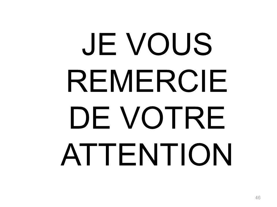 46 JE VOUS REMERCIE DE VOTRE ATTENTION