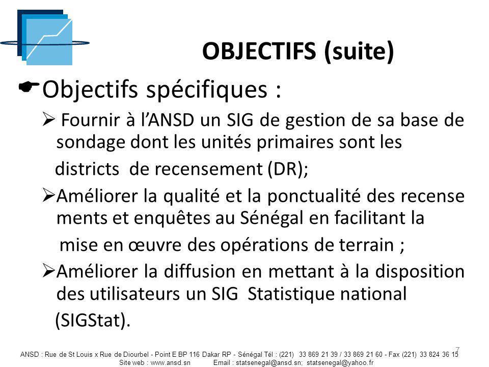 OBJECTIFS (suite) Objectifs spécifiques : Fournir à lANSD un SIG de gestion de sa base de sondage dont les unités primaires sont les districts de rece