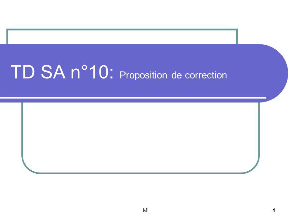 ML12 Identification des 2 représentations détat. Lidentification donne: