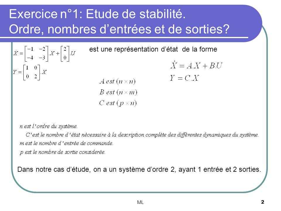 ML2 Exercice n°1: Etude de stabilité. Ordre, nombres dentrées et de sorties? est une représentation détat de la forme Dans notre cas détude, on a un s