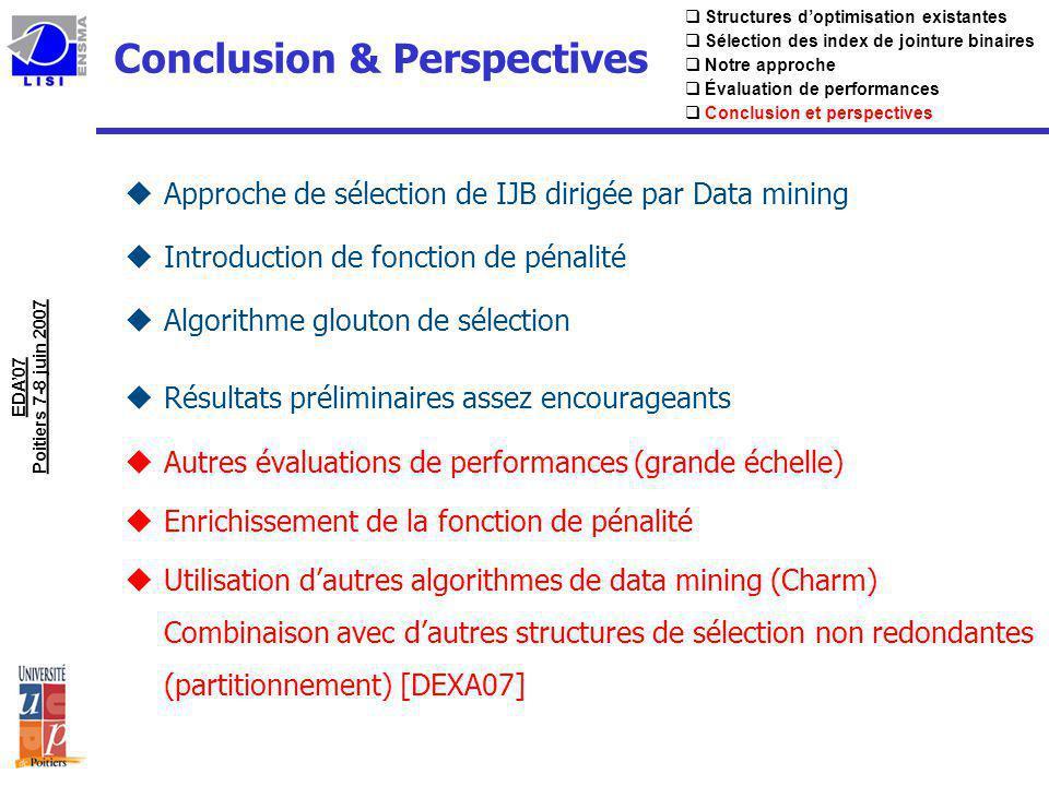 Conclusion & Perspectives uApproche de sélection de IJB dirigée par Data mining uIntroduction de fonction de pénalité uAlgorithme glouton de sélection