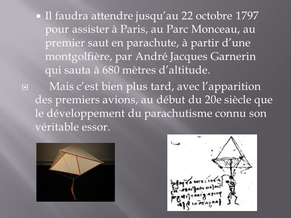 Il faudra attendre jusquau 22 octobre 1797 pour assister à Paris, au Parc Monceau, au premier saut en parachute, à partir dune montgolfière, par André
