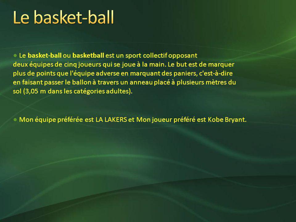 Le basket-ball ou basketball est un sport collectif opposant deux équipes de cinq joueurs qui se joue à la main.