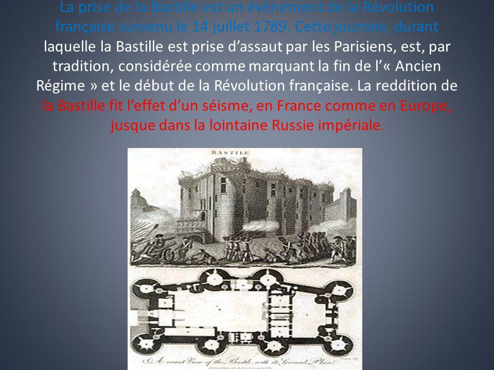 La prise de la Bastille est un évènement de la Révolution française survenu le 14 juillet 1789. Cette journée, durant laquelle la Bastille est prise d