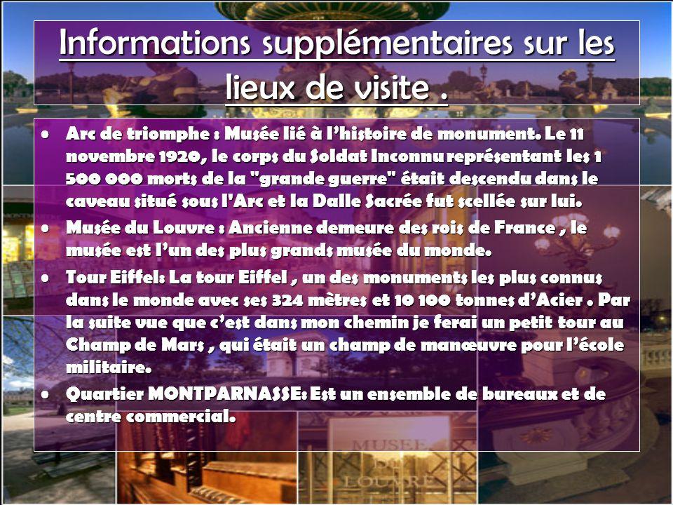 Informations supplémentaires sur les lieux de visite.