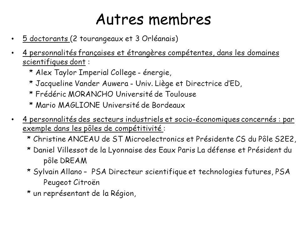 Autres membres 5 doctorants (2 tourangeaux et 3 Orléanais) 4 personnalités des secteurs industriels et socio-économiques concernés : par exemple dans