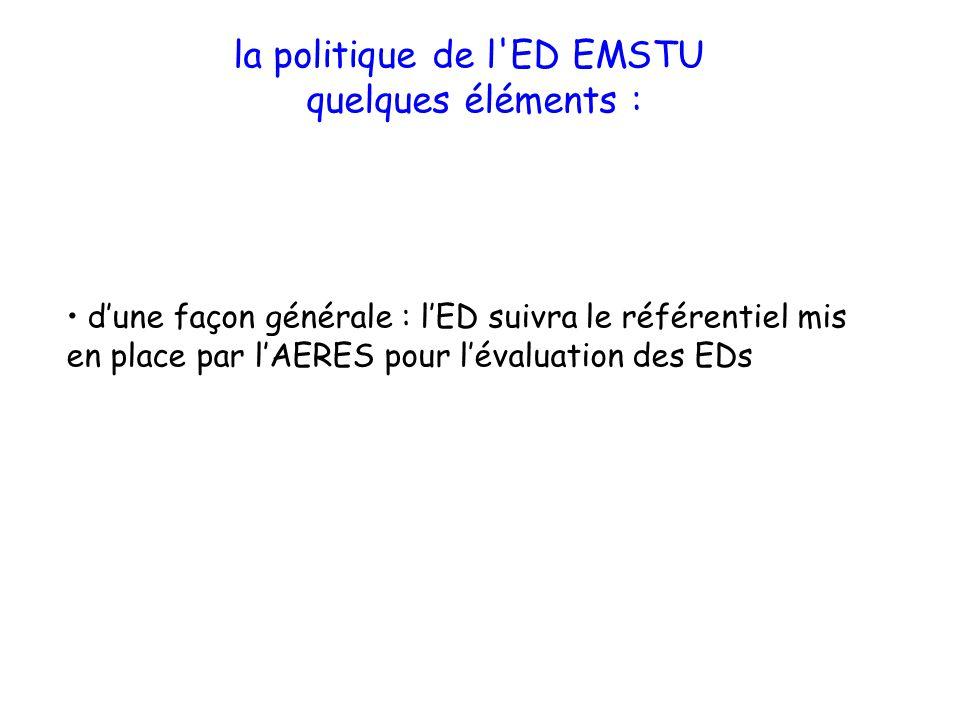 la politique de l'ED EMSTU quelques éléments : dune façon générale : lED suivra le référentiel mis en place par lAERES pour lévaluation des EDs