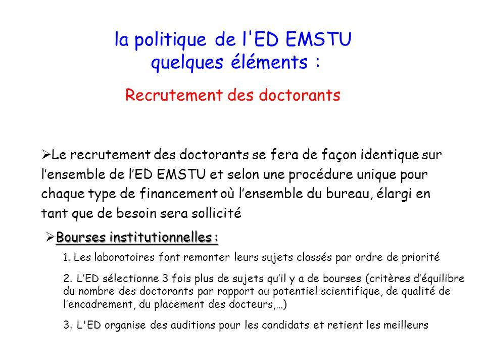 Le recrutement des doctorants se fera de façon identique sur lensemble de lED EMSTU et selon une procédure unique pour chaque type de financement où l