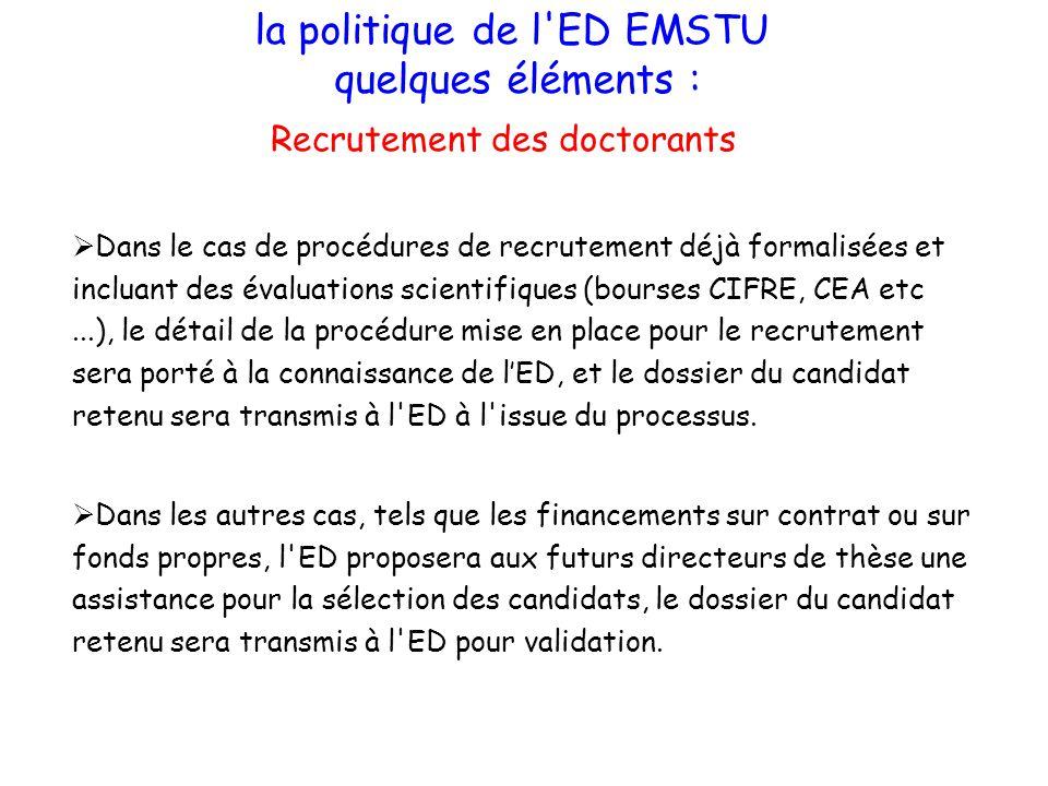 la politique de l'ED EMSTU quelques éléments : Recrutement des doctorants Dans les autres cas, tels que les financements sur contrat ou sur fonds prop