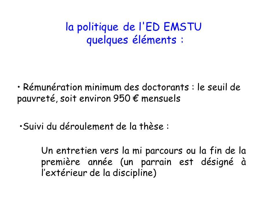 Suivi du déroulement de la thèse : la politique de l'ED EMSTU quelques éléments : Un entretien vers la mi parcours ou la fin de la première année (un