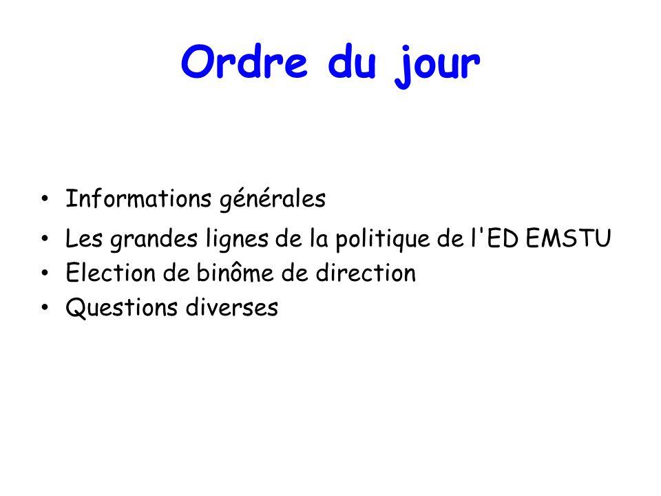 Informations générales Les grandes lignes de la politique de l'ED EMSTU Election de binôme de direction Questions diverses Ordre du jour