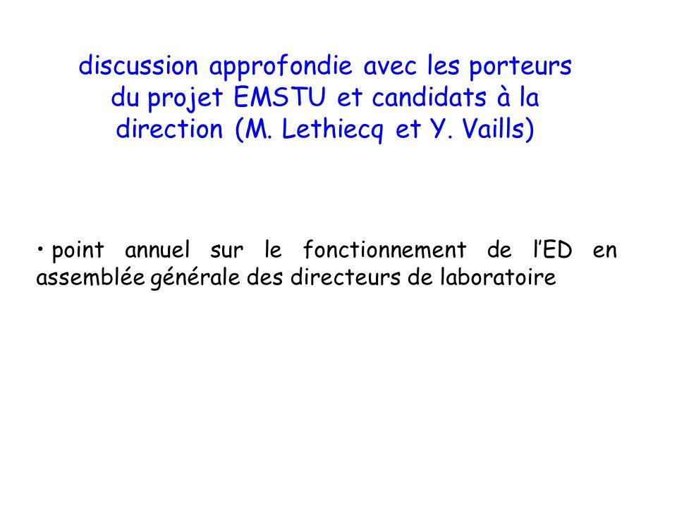 point annuel sur le fonctionnement de lED en assemblée générale des directeurs de laboratoire discussion approfondie avec les porteurs du projet EMSTU