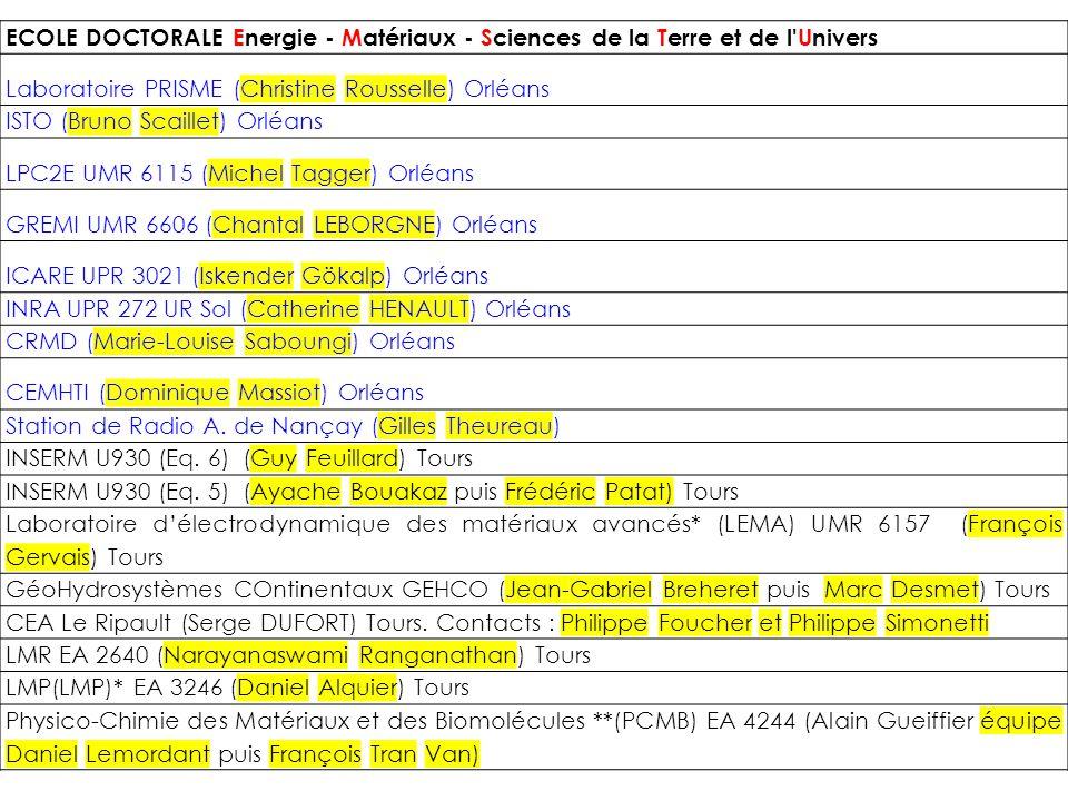 ECOLE DOCTORALE Energie - Matériaux - Sciences de la Terre et de l'Univers Laboratoire PRISME (Christine Rousselle) Orléans ISTO (Bruno Scaillet) Orlé