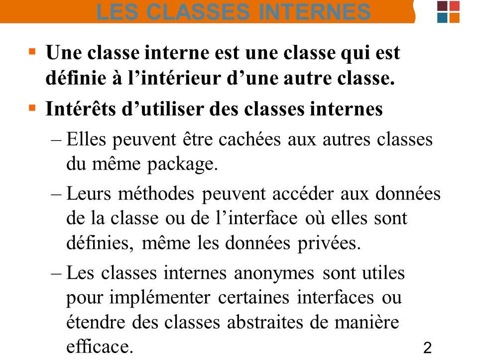2 LES CLASSES INTERNES Une classe interne est une classe qui est définie à lintérieur dune autre classe. Intérêts dutiliser des classes internes –Elle