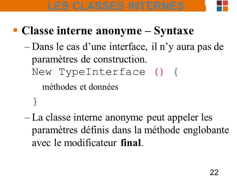 22 Classe interne anonyme – Syntaxe –Dans le cas dune interface, il ny aura pas de paramètres de construction. New TypeInterface () { méthodes et donn
