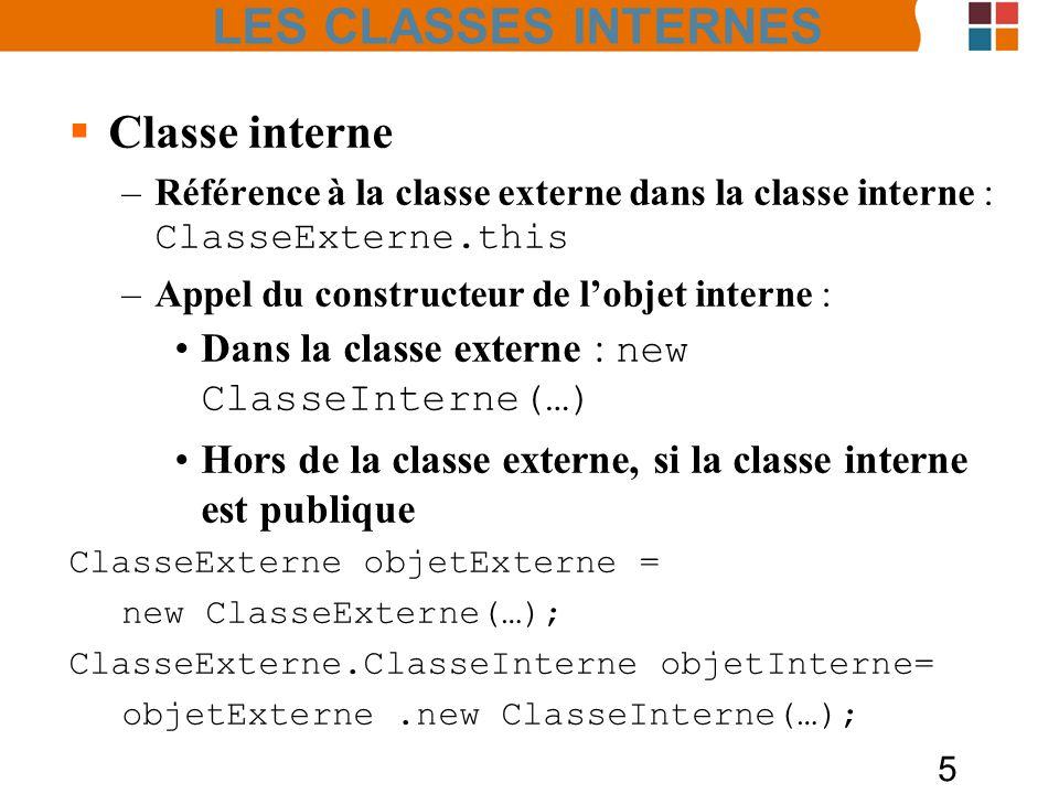 5 Classe interne –Référence à la classe externe dans la classe interne : ClasseExterne.this –Appel du constructeur de lobjet interne : Dans la classe