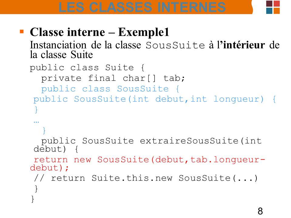8 Classe interne – Exemple1 Instanciation de la classe SousSuite à lintérieur de la classe Suite public class Suite { private final char[] tab; public class SousSuite { public SousSuite(int debut,int longueur) { } … } public SousSuite extraireSousSuite(int debut) { return new SousSuite(debut,tab.longueur- debut); // return Suite.this.new SousSuite(...) } LES CLASSES INTERNES