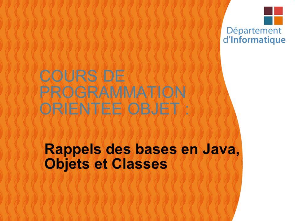 2 Rappels des bases en Java Construction dun programme JAVA : –Un programme Java est composé dun ensemble de fichiers.