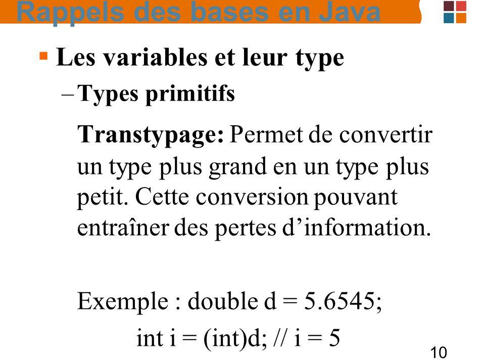 10 Les variables et leur type –Types primitifs Transtypage: Permet de convertir un type plus grand en un type plus petit. Cette conversion pouvant ent
